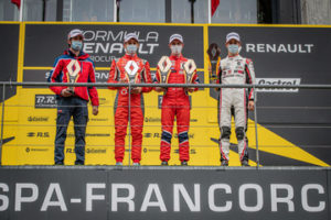 podium of race 2, QUINN Alex (gbr), Arden, Formula Renault Eurocup, portrait, DE WILDE Ugo (bel), Arden, Formula Renault Eurocup, portrait, SAUCY Gregoire (che), ART Grand Prix, Formula Renault Eurocup, portrait during the 7th round of the 2020 Formula Renault Eurocup from October 22 to 23, 2020 on the Circuit de Spa-Francorchamps, in Stavelot, Belgium - Photo Alexandre Guillaumot / DPPI